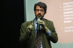 """En una conferencia en en el Aula Magna del Instituto Superior Antonio Ruiz de Montoya, la conferencia """"El panorama de la filosofía francesa contemporánea y la obra filosófica de Emmanuel Levinas""""."""